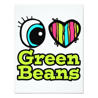 Bright Eye Heart I Love Green Beans 4.25x5.5 Paper Invitation Card