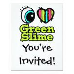 Bright Eye Heart I Love Green Slime 4.25x5.5 Paper Invitation Card