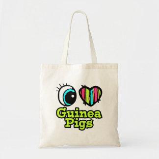 Bright Eye Heart I Love Guinea Pigs Canvas Bags