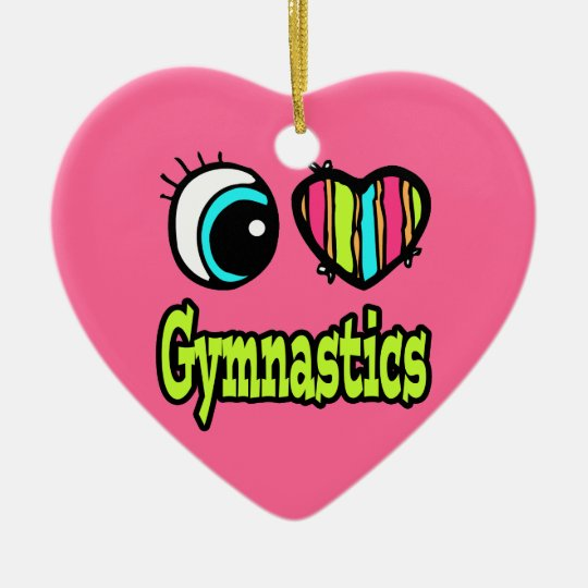 Bright Eye Heart I Love Gymnastics Ceramic Ornament