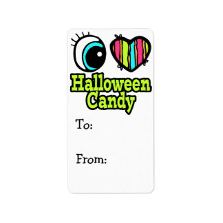 Bright Eye Heart I Love Halloween Candy Address Label