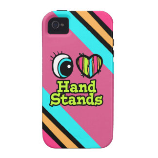 Bright Eye Heart I Love Hand Stands Vibe iPhone 4 Cases