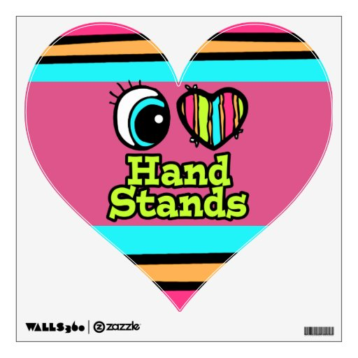 Bright Eye Heart I Love Hand Stands Wall Stickers