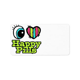 Bright Eye Heart I Love Happy Pills Personalized Address Labels