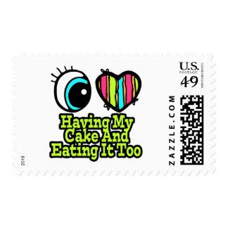 Bright Eye Heart I Love Having My Cake Postage Stamp