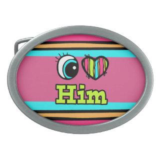 Bright Eye Heart I Love Him Oval Belt Buckles