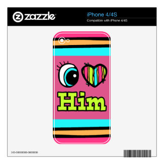 Bright Eye Heart I Love Him Decal For The iPhone 4
