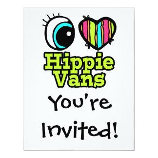 Bright Eye Heart I Love Hippie Vans 4.25x5.5 Paper Invitation Card