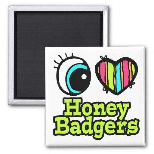 Bright Eye Heart I Love Honey Badgers 2 Inch Square Magnet