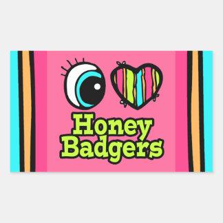 Bright Eye Heart I Love Honey Badgers Rectangle Stickers