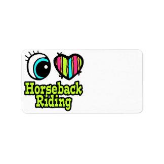 Bright Eye Heart I Love Horseback Riding Personalized Address Label