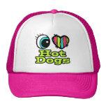 Bright Eye Heart I Love Hot Dogs Trucker Hats
