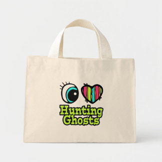 Bright Eye Heart I Love Hunting Ghosts Canvas Bags
