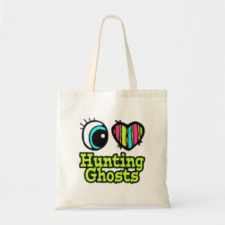 Bright Eye Heart I Love Hunting Ghosts Tote Bags