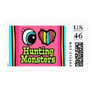 Bright Eye Heart I Love Hunting Monsters Postage Stamp