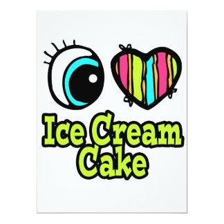 "Bright Eye Heart I Love Ice Cream Cake 6.5"" X 8.75"" Invitation Card"