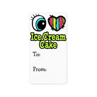 Bright Eye Heart I Love Ice Cream Cake Label