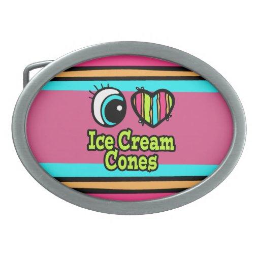 Bright Eye Heart I Love Ice Cream Cones Belt Buckle