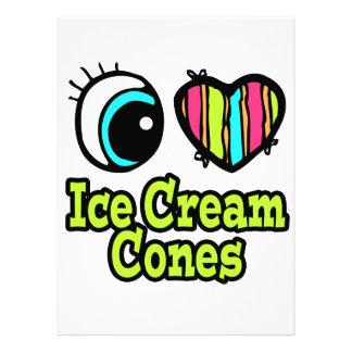 Bright Eye Heart I Love Ice Cream Cones Personalized Invitations