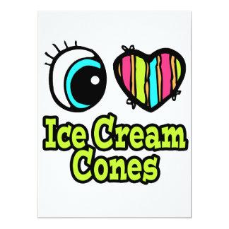 """Bright Eye Heart I Love Ice Cream Cones 6.5"""" X 8.75"""" Invitation Card"""