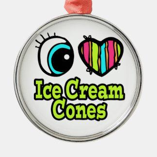 Bright Eye Heart I Love Ice Cream Cones Round Metal Christmas Ornament