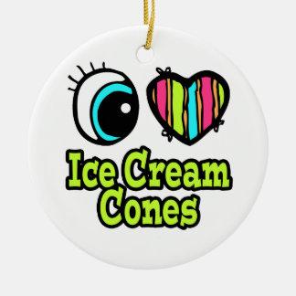 Bright Eye Heart I Love Ice Cream Cones Double-Sided Ceramic Round Christmas Ornament