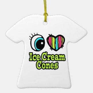 Bright Eye Heart I Love Ice Cream Cones Double-Sided T-Shirt Ceramic Christmas Ornament