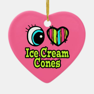 Bright Eye Heart I Love Ice Cream Cones Double-Sided Heart Ceramic Christmas Ornament