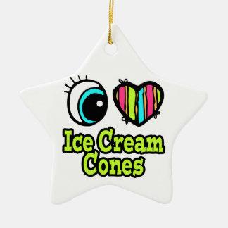 Bright Eye Heart I Love Ice Cream Cones Double-Sided Star Ceramic Christmas Ornament