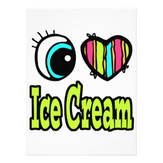 Bright Eye Heart I Love Ice Cream Custom Invite