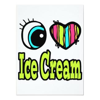 "Bright Eye Heart I Love Ice Cream 6.5"" X 8.75"" Invitation Card"