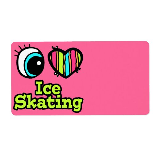 Bright Eye Heart I Love Ice Skating Personalized Shipping Labels
