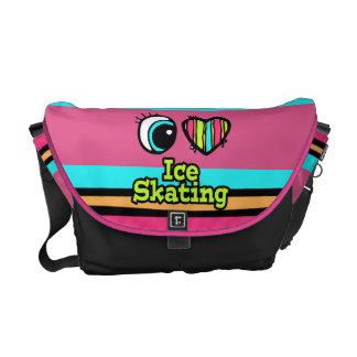 Bright Eye Heart I Love Ice Skating Messenger Bags
