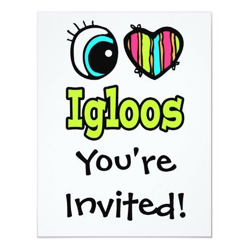 Bright Eye Heart I Love Igloos 4.25x5.5 Paper Invitation Card