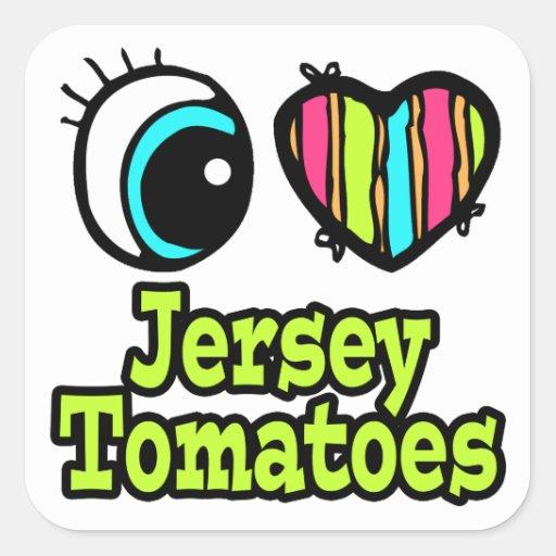 Bright Eye Heart I Love Jersey Tomatoes Sticker