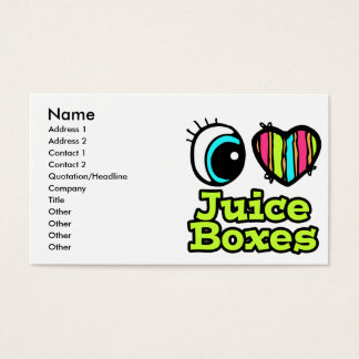 Bright Eye Heart I Love Juice Boxes Business Card