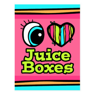 Bright Eye Heart I Love Juice Boxes Postcard