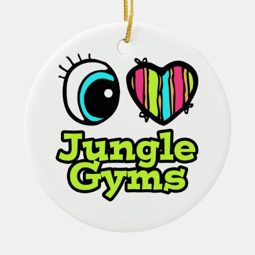 Bright Eye Heart I Love Jungle Gyms Double-Sided Ceramic Round Christmas Ornament