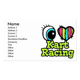 Bright Eye Heart I Love Kart Racing Business Card Template