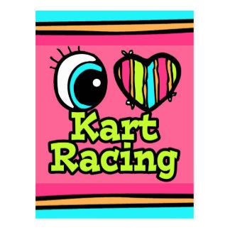 Bright Eye Heart I Love Kart Racing Postcard