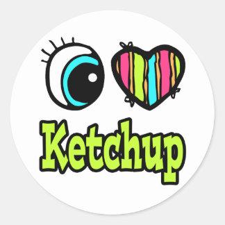 Bright Eye Heart I Love Ketchup Classic Round Sticker