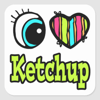 Bright Eye Heart I Love Ketchup Square Sticker