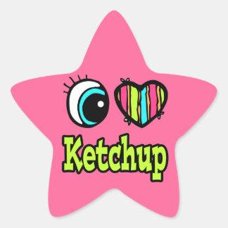 Bright Eye Heart I Love Ketchup Star Sticker