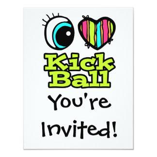 """Bright Eye Heart I Love Kick Ball 4.25"""" X 5.5"""" Invitation Card"""