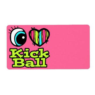 Bright Eye Heart I Love Kick Ball Personalized Shipping Label