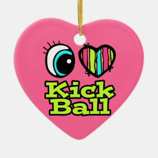 Bright Eye Heart I Love Kick Ball Double-Sided Heart Ceramic Christmas Ornament