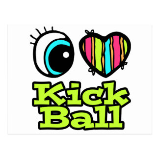 Bright Eye Heart I Love Kick Ball Postcards
