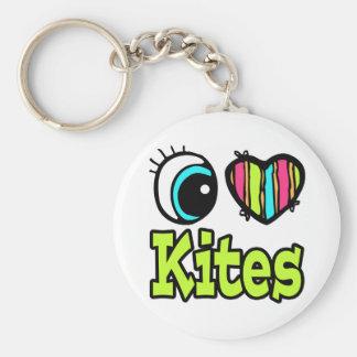 Bright Eye Heart I Love Kites Keychain