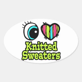 Bright Eye Heart I Love Knitted Sweaters Sticker