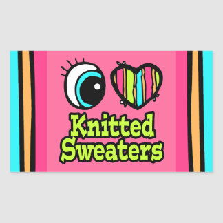 Bright Eye Heart I Love Knitted Sweaters Rectangle Sticker
